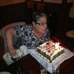 Rita enjoying her lovely birthday cake, made by the hotel staff.