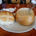 Chowder in a bread bowl