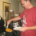 Making waffles at Breakfast!