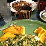 In the foreground is the aforementioned pesto, spinach, goat cheese scramble....YUM!