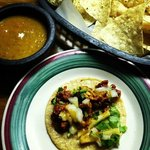 Taco al pastor, chips and salsa
