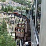 The train going across the trestle. Ask about the origin.