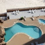 looking down at the outdoor pool