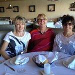 Three friends having lunch