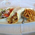 Pita Chicken Souvlaki with salad and fries