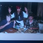 """""""Jack Sparrow"""" with my husband & me at Jack's Bar & Grill"""
