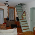 Cozy family room at the Blue Door - love the attic stairs!