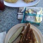 Turkey Sandwich on the bottom, Rueben on the top