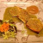 queso de cabra en salsa de pistacho