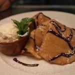 crepes with banana chocolate sauce