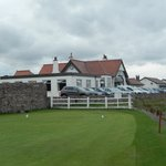 Dunbar Links clubhouse from the 4th tee. Wall to the right, the sea on your left. Hit it straigh