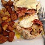 Margaret's breakfast sandwich with linguica (bite already taken)