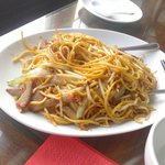 Chinese roast pork with dry fried thick egg noodles