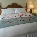 Deluxe king cottage bedroom (hubby asked for the rose pedals for our anniversary)