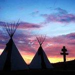 Tipis in the Sunset