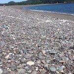 White line in the sea of rocks