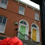 Look for the green door!