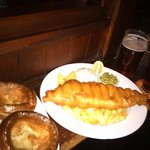 Fish and chips, Yorkshire pudding and Ale