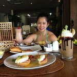 breakfast and pastries at chocolate cafe