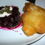 Salted cod fritter with beetroot