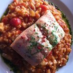 salmon with tomato risotto and a touch of pesto... delicious and perfectly cooked