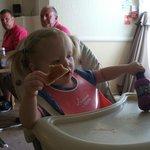 littlest grandaughter having breakfast