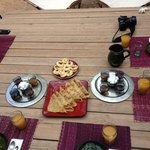 Great breakfast at the kasbah. Plenty of crepes, cakes, spreads, coffee , tea and juice..