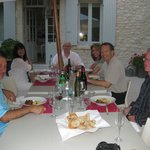 dinner outside at La Madelene with Philip, Jude and our group