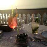 solnedgang fra terrassen mens vi spiser middag!