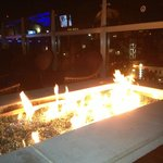 Firepit in rooftop lounge