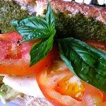 Caprese sandwich with homemade pesto.