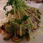 halibut with coconut arborio rice and brussel sprouts