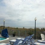 Partial view while standing on the outdoor pool deck.