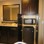 Wet bar with mini fridge and microwave