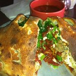 The Calzone - mine was veggie with added sausage
