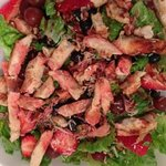 grilled chicken and berry salad. Raspberry pecan dressing