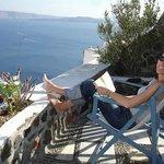 My happy place - on the veranda overlooking the Caldera
