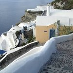 Looking down from the street entrance to Lava Oia