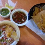 Chips with salsa and bean dip