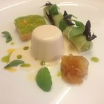 Smoked salmon panna cotta with cucumber and avocado canelloni