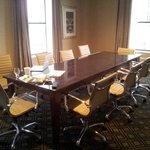 Conference table in the corner suite