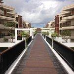 Hotel walkway over pool
