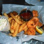 Fried Shrimp Basket, Fries and Slaw