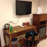 Desk, TV, Minifridge