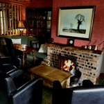 Log fire in the restaurant