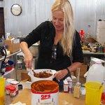 mixing pumpkin pie flavor