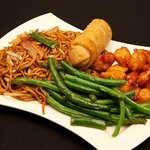 Gen Tso's chicken with string beans and noodles