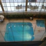 View from room to swimming pool in the lobby