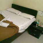Bed with dirty linen, the Bedsheet was in 2 pcs