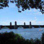 A view of the Longfellow Bridge from the bike path along the Charles River.